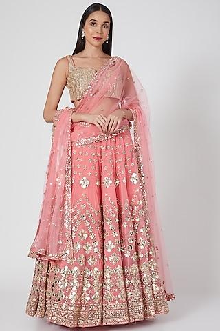 Pink Mirror Embellished Lehenga Set by Abhinav Mishra