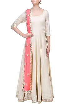 Off White and Pink Gota and Sequins Anarkali Set by Abhinav Mishra