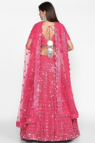 Fuchsia Embroidered Lehenga Set by Abhinav Mishra