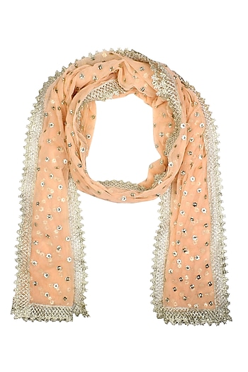 Peach and Gold Sequins Flower Dupatta by Abhinav Mishra