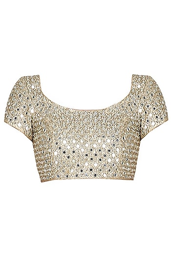 Gold Mirror Embroidered Blouse by Abhinav Mishra