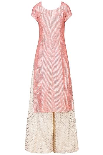 Off White and Pink Gota Embroidered Sharara Set by Abhinav Mishra