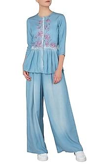 Blue Embroidered Peplum Blouse by Anubha Jain