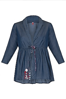 Blue Embroidered Blouse by Anubha Jain