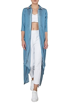 Blue High Low Embellished Cape by Anubha Jain