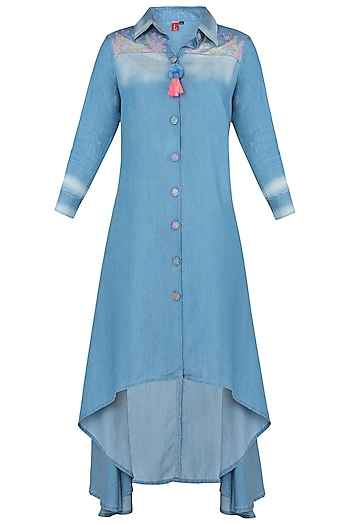 Blue High Low Shirt Dress by Anubha Jain