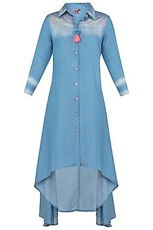 Blue High Low Shirt Dress by Anubha Jain
