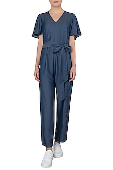 Blue Crop Jumpsuit by Anubha Jain