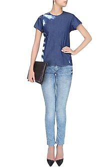 Blue Beads And Lace Embroidered Denim Top by Anubha Jain