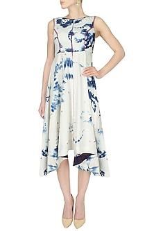 Blue Beads Embroidered Denim High Low Dress by Anubha Jain