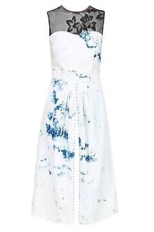 Blue Sheer Slash White Out Ankle Length Denim Dress by Anubha Jain