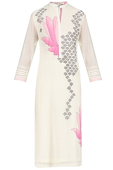 Ivory and Pink Lotus Applique Patchwork Tunic by Abhijeet Khanna