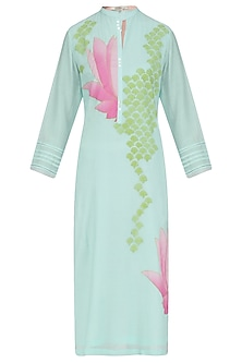Mint and Pink Lotus Applique Patchwork Tunic by Abhijeet Khanna