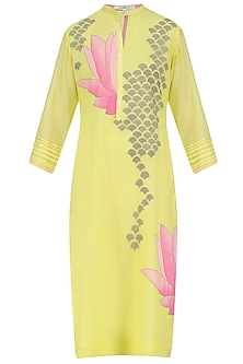 Yellow and Pink Lotus Applique Patchwork Tunic by Abhijeet Khanna
