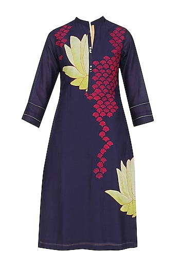 Indigo and Yellow Lotus Applique Patchwork Tunic by Abhijeet Khanna