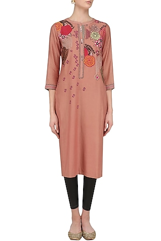 Mud Brown Floral Patchwork Tunic by Abhijeet Khanna