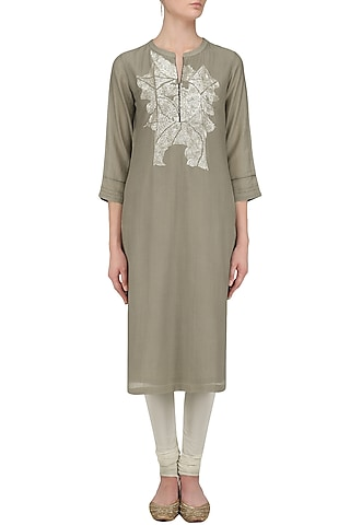 Grey Geometric Sequins Embroidered Tunic by Abhijeet Khanna