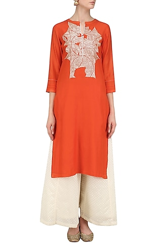 Red Sequins Hand Embroidered Tunic by Abhijeet Khanna