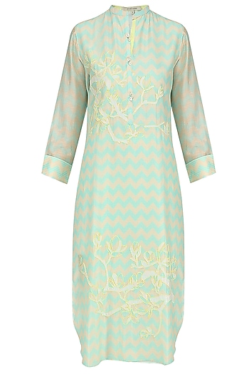 Mint Green Digital Print and Applique Work Tunic by Abhijeet Khanna