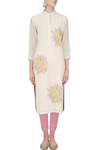Ivory Floral Motifs Embroidered Tunic by Abhijeet Khanna