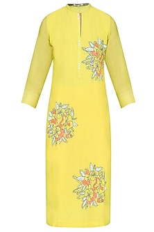 Yellow Floral Thread and Sequins Motifs Tunic by Abhijeet Khanna