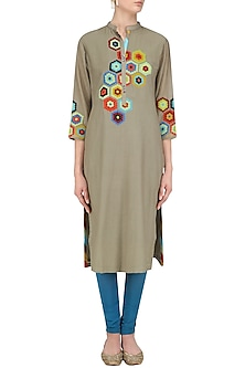 Grey Geometric Patchwork Tunic by Abhijeet Khanna