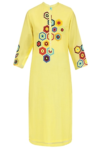 Yellow Geometric Patchwork Tunic by Abhijeet Khanna