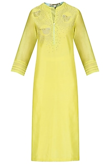 Yellow Hand Embroidered Bird Motifs Tunic by Abhijeet Khanna