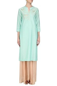 Mint Hand Embroidered Bird Motifs Tunic by Abhijeet Khanna