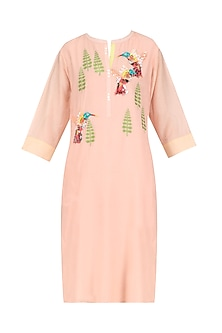 Peach Hand Embroidered Bird Motifs Tunic by Abhijeet Khanna
