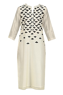 Ivory and Black Applique Work Tunic by Abhijeet Khanna