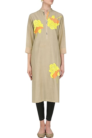 Dark Beige Floral Motifs Embroidered Tunic by Abhijeet Khanna