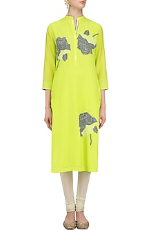 Lime Sequins Floral Motifs Tunic by Abhijeet Khanna