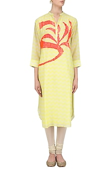 Yellow Digital Print and Sequins Work Tunic by Abhijeet Khanna