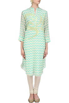 Mint Digital Print and Sequins Work Tunic by Abhijeet Khanna