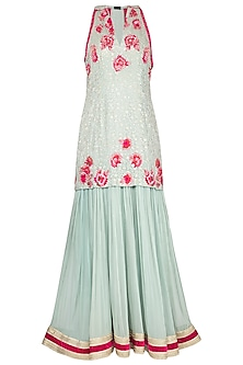 Soft blue embroidered anarkali gown with dupatta by Abhi Singh