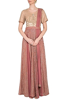 Carrot red embroidered anarkali gown with attached dupatta and belt by Abhi Singh