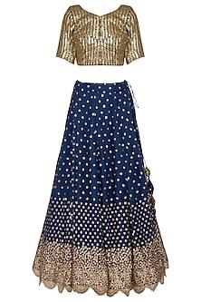 Midnight blue embroidered lehenga set by Abhi Singh