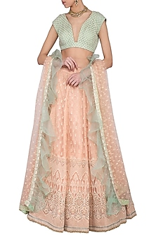 Peach and sea green embroidered lehenga set by Abhi Singh-SHOP BY STYLE