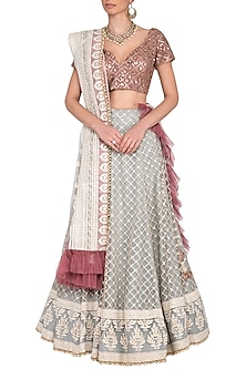 Grey and pink embroidered chikankari lehenga set by Abhi Singh