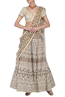 Mouse grey embroidered lehenga set by Abhi Singh