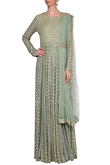 Sea green embroidered anarkali with attached dupatta and belt by Abhi Singh