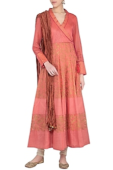 Peach block printed anarkali with dupatta by Abhi Singh