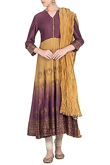 Purple and olive ombre block printed anarkali with dupatta by Abhi Singh