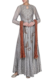 Ash grey blue block printed anarkali gown with dupatta by Abhi Singh