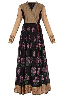 Black floral block printed anarkali gown by Abhi Singh