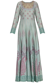 Aqua blue block printed anarkali gown with dupatta by Abhi Singh