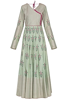 Sea green block printed anarkali with dupatta by Abhi Singh