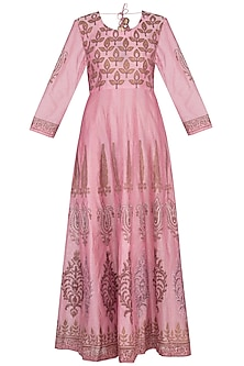 Onion pink block printed anarkali with dupatta by Abhi Singh