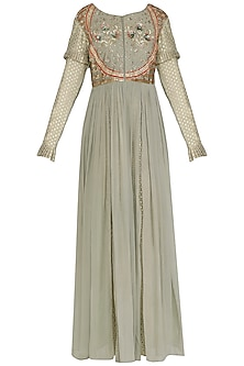 Grey Embroidered Anarkali Gown by Abhi Singh